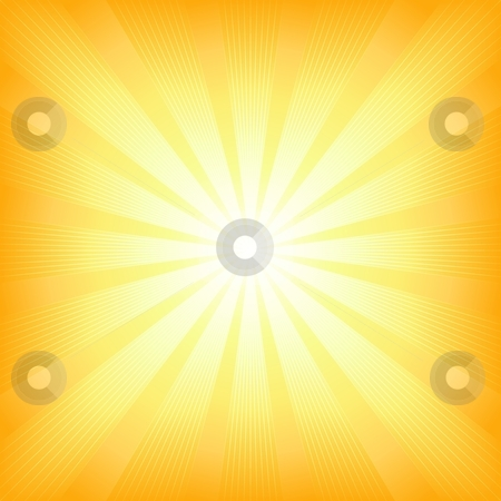 Square summer sun light burst stock vector clipart, Square centered light burst from white to orange. Use of 6 global colors, blends, linear and radial gradients, clipping mask. by Ina Wendrock
