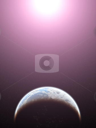 Planet with life stock photo, Computer generated image of a star and a planet with life. by Ivan Paunovic