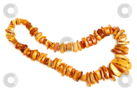 Amber necklace. stock photo, An heavy amber necklace of natural amber stones in different dices. by Horst Petzold