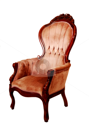 Pink armchair. stock photo, An isolated pink armchair with nice wood carvings on white background. by Horst Petzold