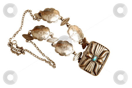 Turkish jewelry. stock photo, A beautiful handmade antique silver money purse whit one blue stone on top. by Horst Petzold