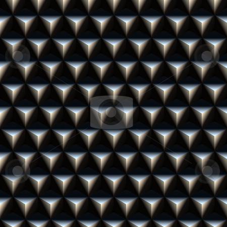 Triangle spikes pattern stock photo, Seamless texture of metallic 3d triangles on black by Wino Evertz