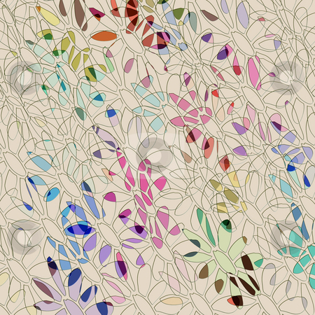 Colored flower shapes pattern stock photo, Sketched flower shapes on beige background with some colors by Wino Evertz