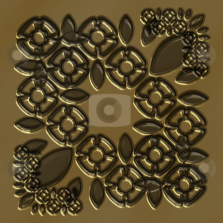 Imprinted flowers in copper stock photo, Texture of gold to brown abstract flower shapes imprinted by Wino Evertz
