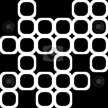 Black and white shapes stock photo, Texture of white rounded cubes on black by Wino Evertz