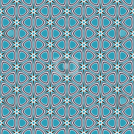 Blue retro star pattern stock photo, Seamless texture of blue, black and white star shapes in retro style by Wino Evertz