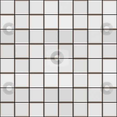 3d white tile pattern stock photo, Seamless texture of white glossy square tiles by Wino Evertz