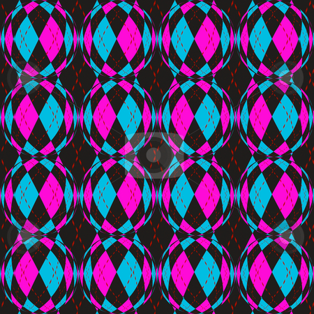 Checkered circels pattern stock photo, Seamless texture of balls with blue and pink checks motive by Wino Evertz