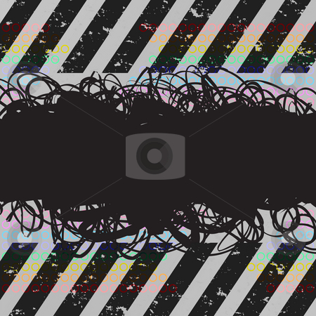 Scribbles Grunge Layout stock photo, A grunge scribbles frame with hazard stripes. Insert your own text or images. by Todd Arena