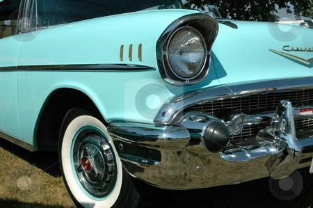 57 Chevy Front Powder Blue stock photo, This is a nice Power Blue 57 Chevy by Joe Shortridge