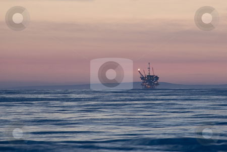 Offshore oilrig stock photo, An off-shore oil platform on the pacific coast, off California by Stephen Gibson