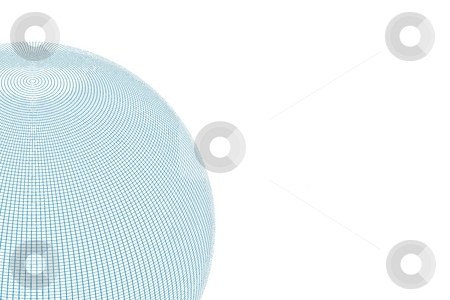 Wire Globe Half White No Back stock photo, Globe with a half wire grid on white background. by Henrik Lehnerer