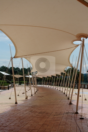 Tent covered walkway stock photo, Modern tent covers walkway shows clear path shadow by Purtojo Soejarno