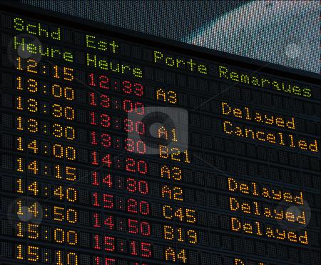 Airport information board stock photo, Airport information board, international departures. by Fernando Barozza