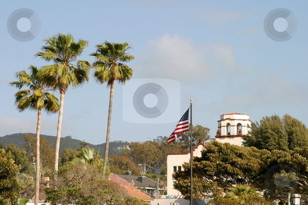 Palm Tree Flag stock photo, Laguna Beach with palm tree and US flag. by Henrik Lehnerer