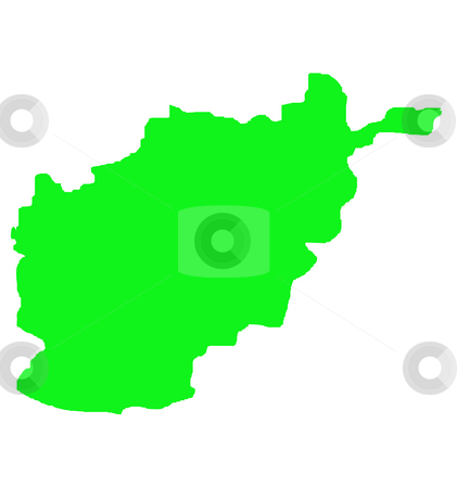 Islamic Republic of Afghanistam outline map stock photo, Islamic Republic of Afghanistam outline map in green, isolated on white background. by Martin Crowdy