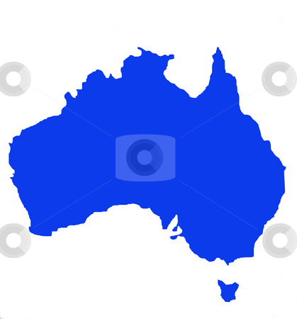 Outline map of Australia and Tasmania stock photo, Outline map of Australia and Tasmania in blue, isolated on white background. by Martin Crowdy