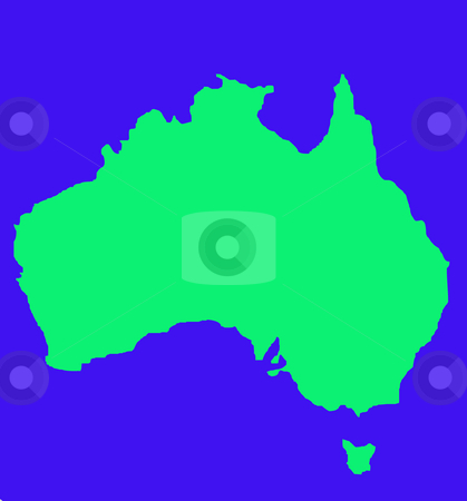 Outline map of Australia and Tasmania stock photo, Outline map of Australia and Tasmania in green, isolated on blue background. by Martin Crowdy