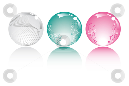 Pastel spheres stock vector clipart, Pastel spheres in pastel colors with stars bubbles and fantasy by Karin Claus