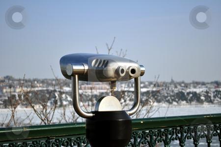 Binocular, observation deck stock photo, Observation deck, shore of Saint Laurent river by Fernando Barozza