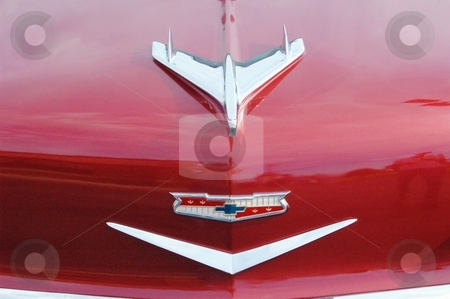 55 Chevy Hood Bird stock photo, This is a crisp clean Chevy hood. Showing the Hood Bird. by Joe Shortridge