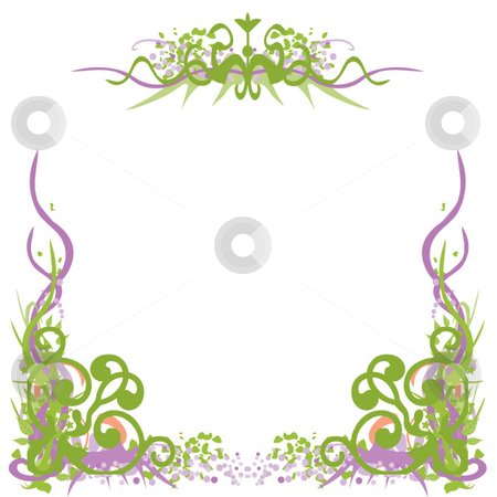 Scroll grunge border stock vector clipart, Decorative border using scroll, grunge and vine by Maggie Bates