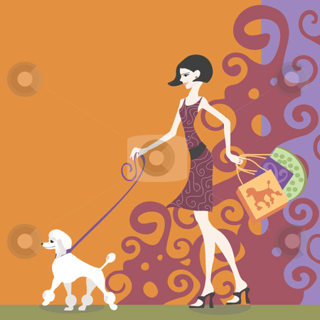 Shopping poodle stock vector clipart, A woman and a poodle shopping with a decorative background by Maggie Bates