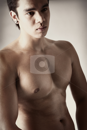 Portrait of a strong bare Indonesian man  stock photo, Portrait of a naked indonesian man by Frenk and Danielle Kaufmann