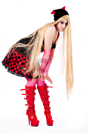Harajuku girl is bending stock photo, Young girl dressed in japanese funky harajuku style by Frenk and Danielle Kaufmann