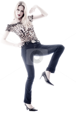 Sexy leg up stock photo, Sexy blond atractive girl with her new look by Frenk and Danielle Kaufmann