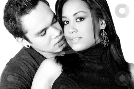 Blowing gently at my girlfriends neck stock photo, Portrait of Indonesian boy- and girlfriend in love by Frenk and Danielle Kaufmann