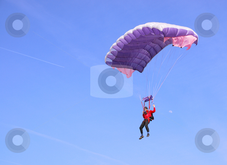 Purple parachute stock photo, A purple parachute in a blue sky on a sunny day by Ivan Paunovic