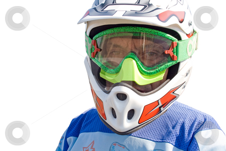 Portrait of racer on the white background. stock photo, Portrait of racer on the white background. by Viachaslau Barysevich