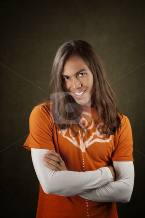 Handsome Young Man stock photo, Portrait of a Handsome Young Man with Long Hair by Scott Griessel