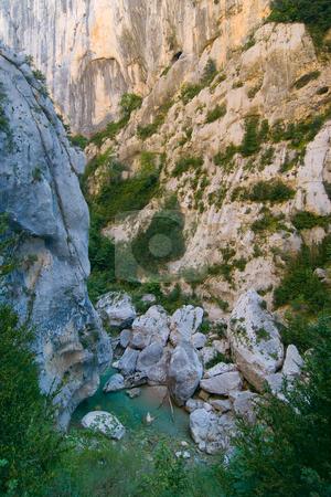 Verdonschlucht, Gorges du Verdon, Grand Canyon du Verdon stock photo, Die Verdonschlucht (frz. Gorges du Verdon), umgangssprachlich auch Grand Canyon du Verdon, ist eine Schlucht in der franz?sischen Provence, Departement Alpes-de-Haute-Provence. - The Verdon Gorge (in French: Gorges du Verdon or Grand canyon du Verdon), in south-eastern France (Alpes-de-Haute-Provence), is a river canyon that is considered by many to be Europe's most beautiful. by Wolfgang Heidasch