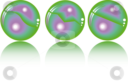 Three realistic fantasy spheres  stock vector clipart, Three realistic fantasy spheres in duo tone by Karin Claus