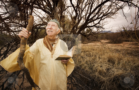 Guru in the desert stock photo, Wise man preaching in the high desert by Scott Griessel