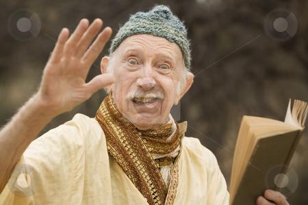 Crazy guru in the desert stock photo, Crazy man preaching in the high desert by Scott Griessel