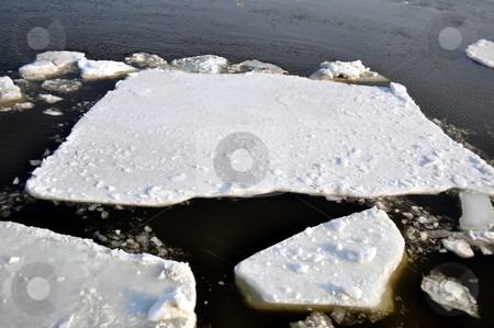 Ice blocks in river stock photo, Winter scenery, ice blocks floating on river. by Fernando Barozza
