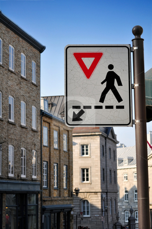 Pedestrians crossing sign stock photo, Give way, cross here. Pedestrians crossing sign by Fernando Barozza