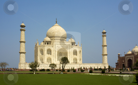 Taj Mahal at Agra, India stock photo, Side view of the Taj Mahal at Agra  India with two minarets showing by Sundeep Goel