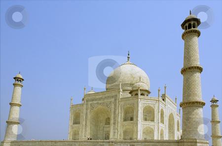 Taj Mahal at Agra, India stock photo, Side view of the Taj Mahal at Agra  India with two minrates showing by Sundeep Goel