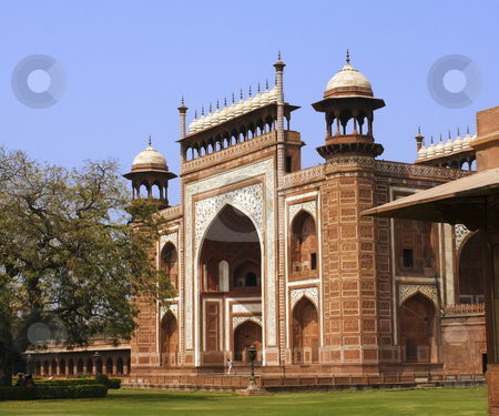 Side view of the Entrance to the Taj Mahal at Agra, India stock photo, Side view of the Entrance to the Taj Mahal at Agra, India by Sundeep Goel