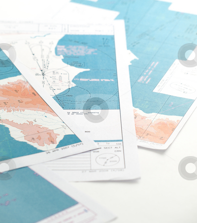 Aeronautical maps stock photo, Few aeronaurtical charts against clear white background by Vladimir Koletic