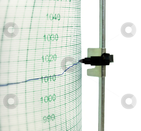 Rising pressure stock photo, Old  fashioned barograph,closeup,isolated on white by Vladimir Koletic