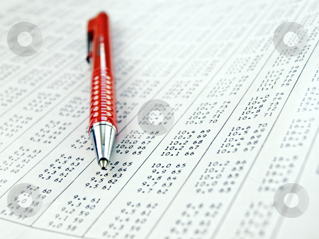 Table with data figures  stock photo, Data table with red pen on it , close-up with shallow DOF by Vladimir Koletic