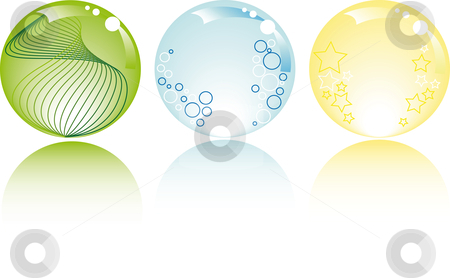 Glowing spheres with white background stock vector clipart, Glowing spheres in pastel colors with stars bubbles and fantasy by Karin Claus