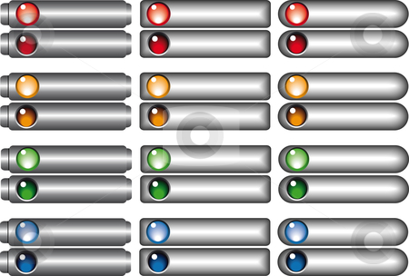Web buttons collection stock vector clipart, Web buttons collection in different shapes and color by Karin Claus