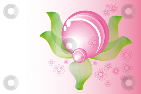 Spring sphere stock vector clipart, Abstract pink spring sphere with leaves by Karin Claus