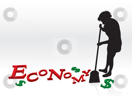 Cleaning Up The Economy stock photo, A woman cleaning up the bad economy by sweeping up the letters and dollar signs with her broom. by Todd Arena
